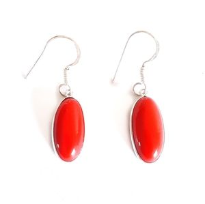 Sterling silver red coral dangle earrings